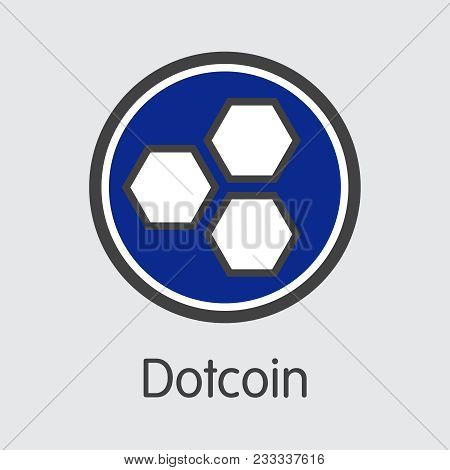 Dotcoin - Digital Currency Concept. Colored Vector Icon Logo And Name Of Cryptocurrency On Grey Back