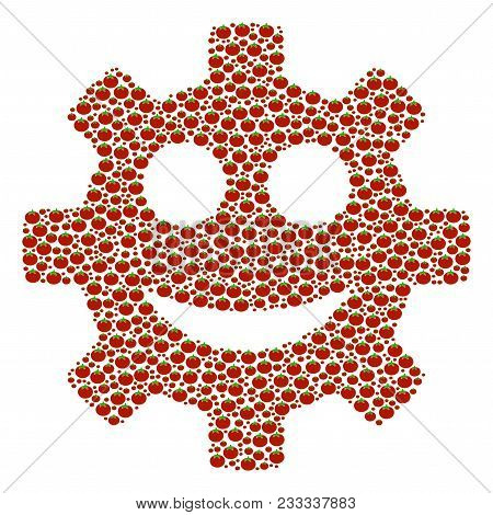 Gear Smile Smiley Collage Of Tomato Vegetables. Vector Tomato Vegetable Objects Are Combined Into Ge