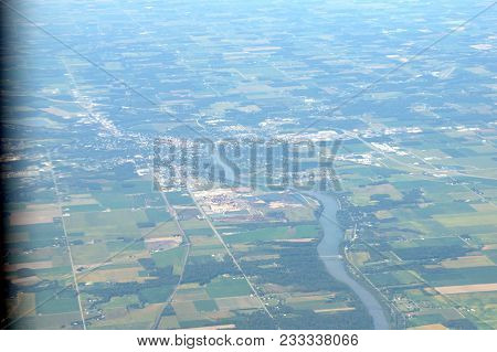 Aerial Elevated View From Up Above Defiance, Ohio In Summer