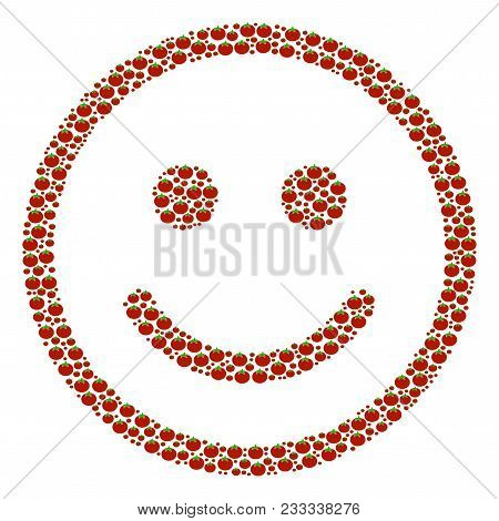 Glad Smiley Composition Of Tomato Vegetables. Vector Tomato Vegetable Elements Are United Into Glad