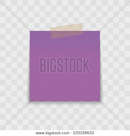 Realistic Note Paper With Sticky Tape On Transparent Background. Vector