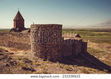 Fortified Khor Virap Monastery. Exploring Armenia. Armenian Architecture. Tourism And Travel Concept