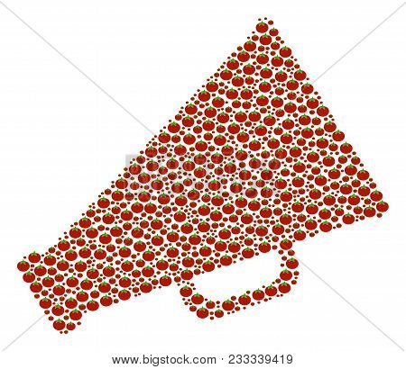 Megaphone Mosaic Of Tomato. Vector Tomato Elements Are Combined Into Megaphone Shape. Nutrition Vect