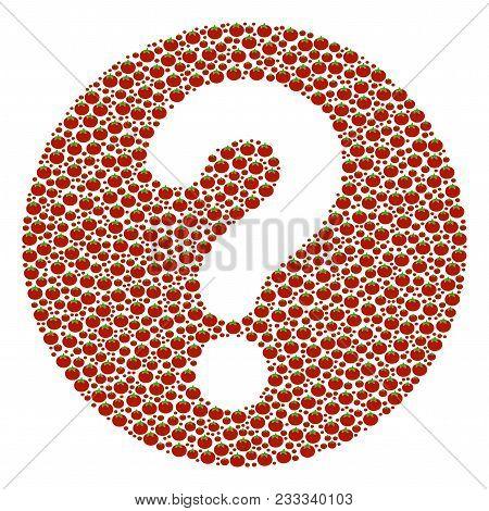 Query Collage Of Tomato. Vector Tomato Symbols Are United Into Query Illustration. Diet Vector Desig