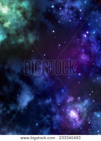 A Nebula, Cloud And Star Filled Background With Rainbow Colors.