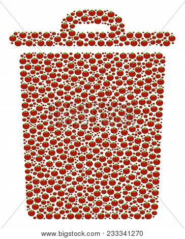 Trash Bin Composition Of Tomato. Vector Tomato Vegetable Items Are Composed Into Trash Bin Illustrat