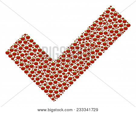Yes Composition Of Tomato Vegetables. Vector Tomato Items Are Combined Into Yes Illustration. Nutrit