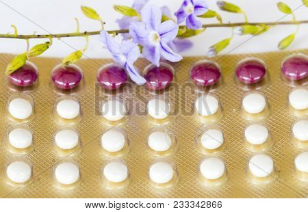 Oral Contraceptives Woman Eat Birth Control Pills With Purple Flowers On Background White