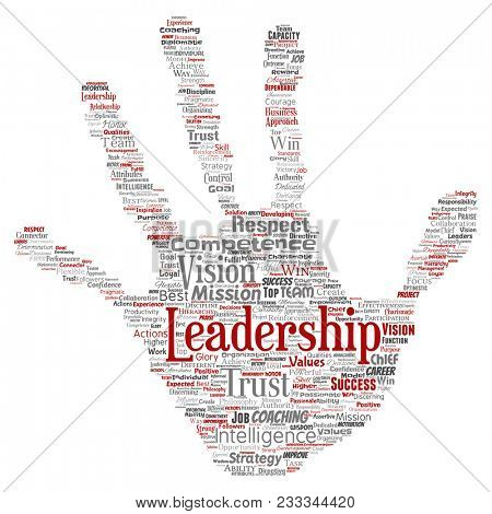 Conceptual business leadership strategy, management value hand print stamp word cloud isolated background. Collage of success, achievement, responsibility, intelligence authority or competence poster