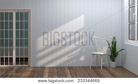 Chair In Room Near White Doors And Windows 3d Illustration Clean Light Blue Wall Interior Background