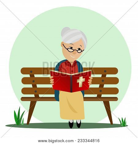 Elderly Woman Reads The Bible While Sitting On A Park Bench. Vector.