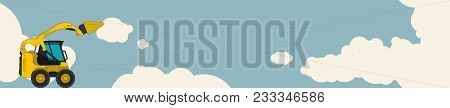 Big Yellow Excavator, Sky With Clouds In Background. Horizontal Banner Layout With Earth Mover. Vint