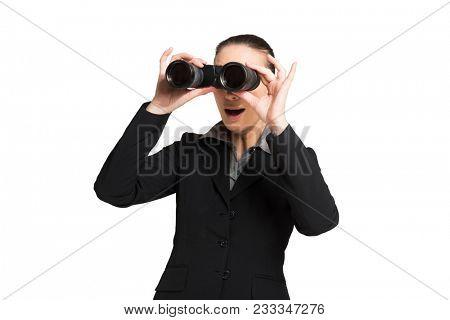 Businesswoman using binoculars. Isolated on white