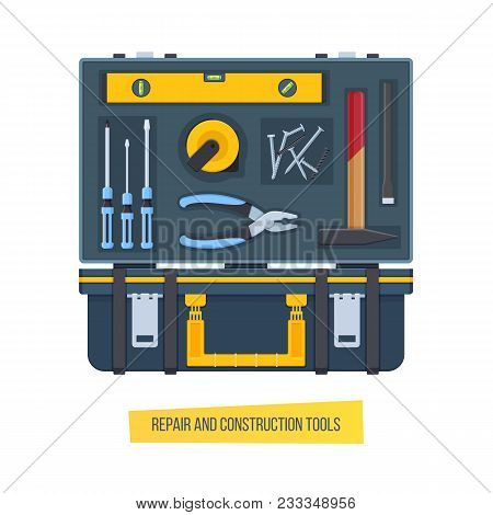 Set Of Repair And Construction Tools, Open And Closed. Tools Screwdrivers, Level, Pliers, Tape Measu