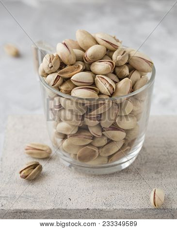 Pistachio In Glass. Nuts. Green Fresh Pistachios As Texture. Roasted Salted Pistachio Nuts Healthy D