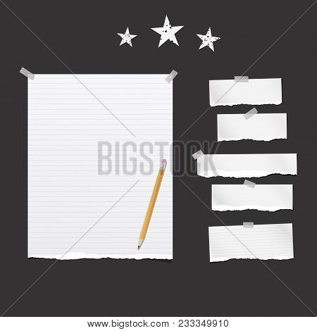 Pieces Of Torn White Lined And Blank Note, Notebook Paper Strips For Text Stuck With Sticky Tape On