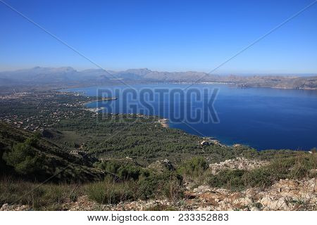 Bay Of Alcudia In Northern Majorca. Spain. Europe