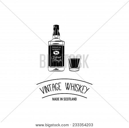Whiskey Bottle Shot. Scotch. Alcoholic Beverage. Alcohol Drink. Bar Pub Design. Vector Illustration.