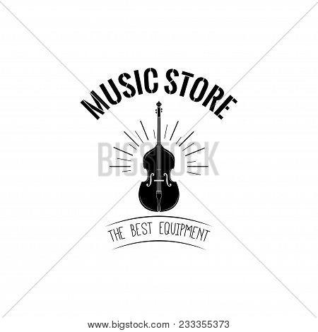Violin Musical Instrument. Music Store Shop Label Logo Emblem. Vector Illustration.