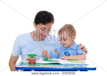 Boy-Artist With Father