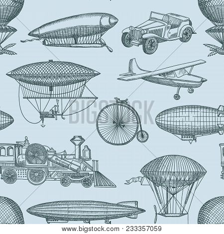 Vector Pattern Or Background Illustration With Steampunk Hand Drawn Airships, Bicycles And Cars. Vin