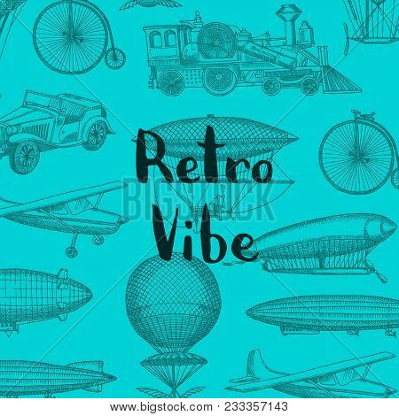 Vector Background With Steampunk Hand Drawn Airships, Air Baloons, Bicycles And Cars With Place For