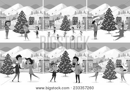 Monochrome Set Of Happy People Ice-skating On Ice Rink. Vector Illustration Of Different Families Fr
