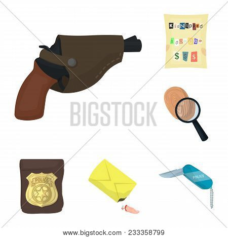 Detective Agency Cartoon Icons In Set Collection For Design. Crime And Investigation Vector Symbol S