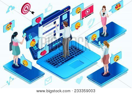 Global Modern Correspondence A Network With A Different Communication. Isometric People Vector Illus