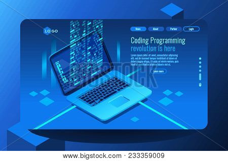 Coding Concept With Program Processing Data On Pc Monitor. Isometric Images. Vector Design Of Data C
