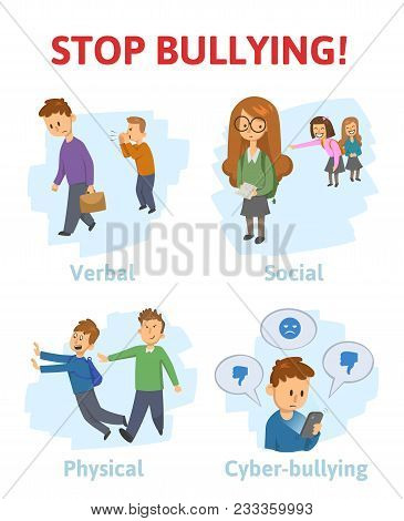 Stop Bullying In The School. 4 Types Of Bullying: Verbal, Social, Physical, Cyberbullying. Cartoon V