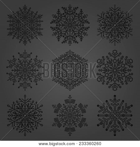 Set Of Vector Snowflakes. Fine Winter Ornaments. Snowflakes Collection. Snowflakes For Backgrounds A