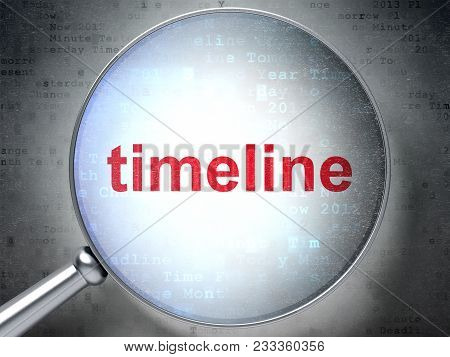 Timeline Concept: Magnifying Optical Glass With Words Timeline On Digital Background, 3d Rendering