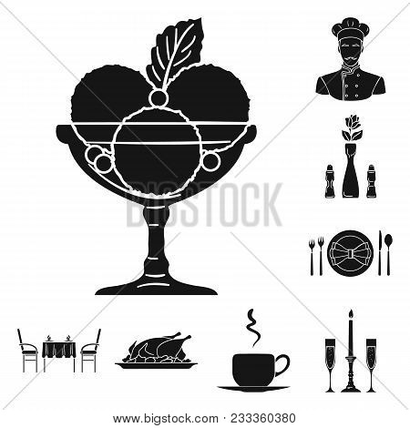 Restaurant And Bar Black Icons In Set Collection For Design. Pleasure, Food And Alcohol Vector Symbo