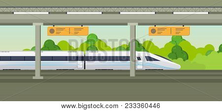 Modern Fast Train On Railway Station. Railway Type Of Transport, Locomotive, With A Passenger Compar