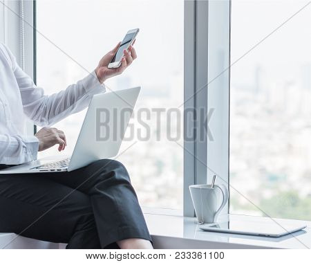 Digital Lifestyle Blog Writer Or Business Person Using Smart Device Working On Internet Communicatio