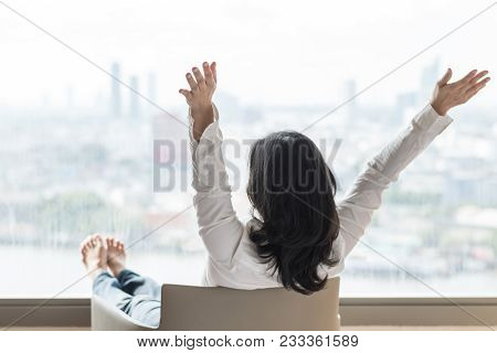 Life Quality Concept With Business Woman Rear View Relaxing Sitting In Rest On Cozy Armchair In Mode