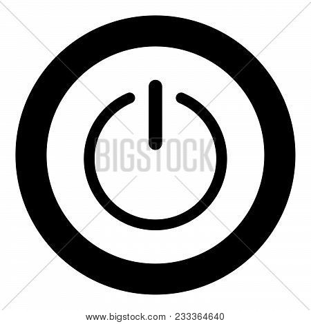 Button Turn On Or Off Black Icon The Black Color Icon  In Circle Or Round Vector Illustration