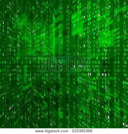 Matrix Stream. Binary Data Coding. Cyberspace Technology Background. Binary Numbers Texture.  Vector