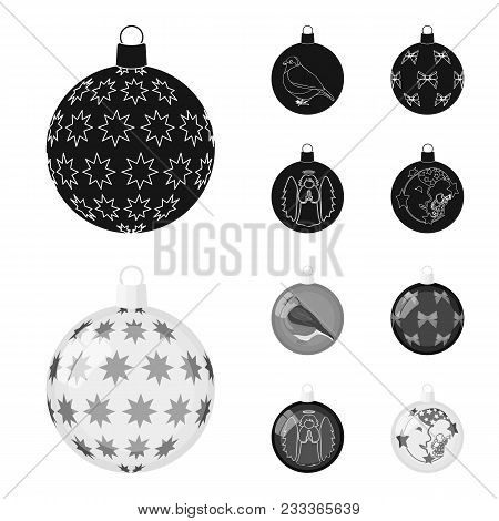 New Year Toys Black, Monochrom Icons In Set Collection For Design.christmas Balls For A Treevector S