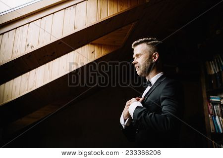 The Groom Adjusts His Jacket, Groom In A Jacket, The Morning Of The Groom
