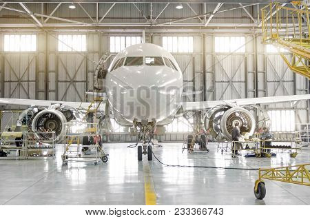 Passenger Aircraft On Maintenance Of Engine-disassembled Engine Blades And Fuselage Repair In Airpor