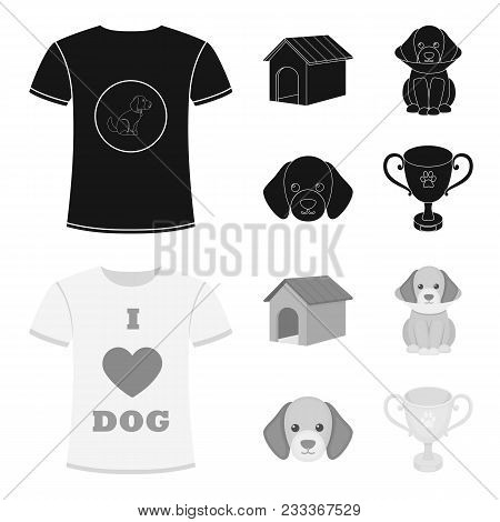 Dog House, Protective Collar, Dog Muzzle, Cup. Dog Set Collection Icons In Black, Monochrom Style Ve