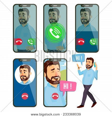 Online Call Vector. Man Face. Mobile Smartphone Screen. Video, Voice Chatting Online. Speaking. Call