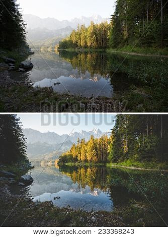 Amazing view of the famous lake Eibsee. Location resort Garmisch-Partenkirchen, Bavarian alp, Europe. Beautiful nature landscape. Beauty earth. Images before and after. Original or retouch. poster