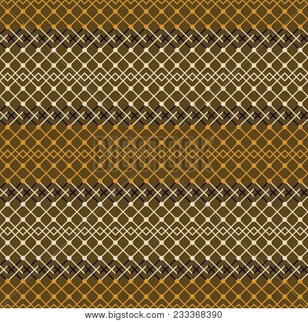 Seamless Abstract Geometric Pattern In Brown And Orange Colors. Simple Elegant Lattice Vector Orname
