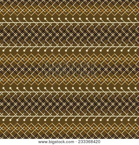 Seamless Geometric Rustic Pattern. Simple Elegant Vector Print. Brown And Orange Colors
