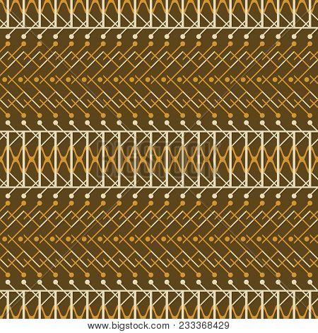Seamless Abstract Geometric Pattern In Rustic Style. Brown And Orange Colors