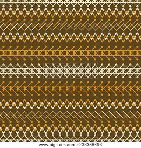 Seamless Geometric Pattern In Rustic Style. Brown And Orange Colors