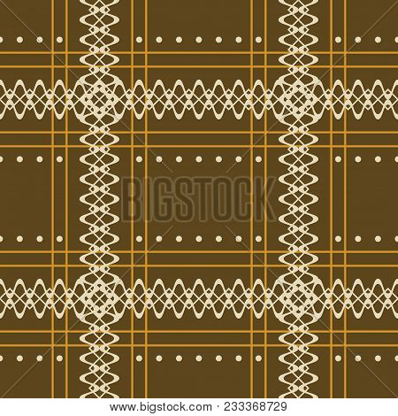 Seamless Geometric Rustic Pattern With Crossing Openwork Stripes. Checkered Vector Print, Brown And